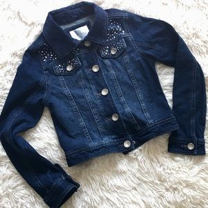 JUSTICE Girls Dark Wash Bling Jean Jacket - Sz 6/7